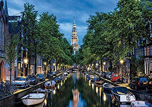 Educa 1500 Piece Puzzle - Amsterdam Canal at Dusk