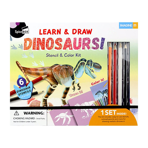 Spice Box Learn & Draw Dinosaurs Stencil & Color Kits