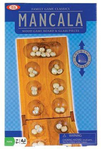 MANCALA WOOD GAME BOARD & GLASS PIECES