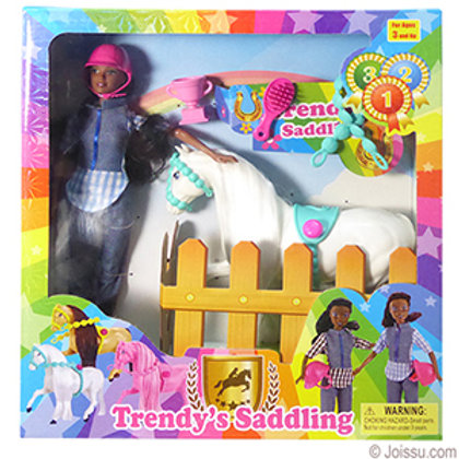 Trendy's Saddling Horse & Doll Set