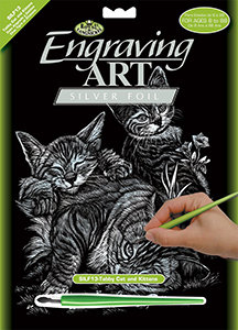 Royal & Langnickel Silver Foil Engraving Art - Tabby Cat and Kittens