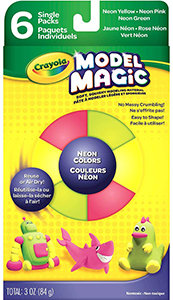 Crayola Model Magic, Neon Colors (Pink, Green, Yellow) 6 Count No-Mess, Soft, Sq