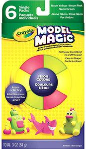 Crayola Model Magic, Neon Colors (Pink, Green, Yellow) 6 Count No-Mess, Soft, Sq