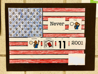 Student work of 9/11 and American Flag