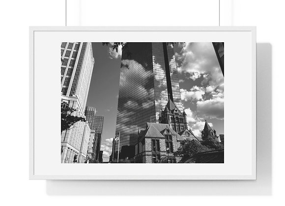 John Hancock Building and the Trinity Church - Premium Framed Horizontal Poster
