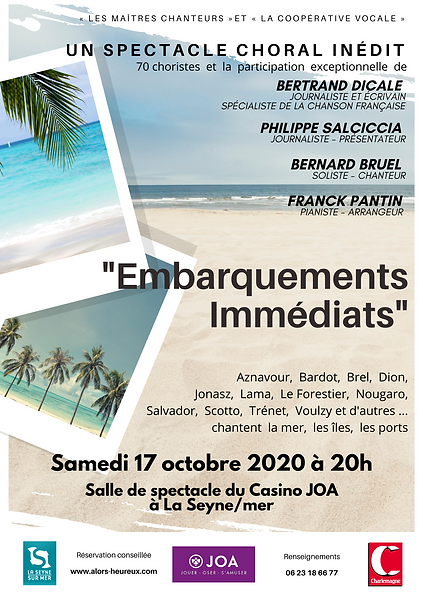 "Affiche du spectacle ""Embarquements Immédiats"""