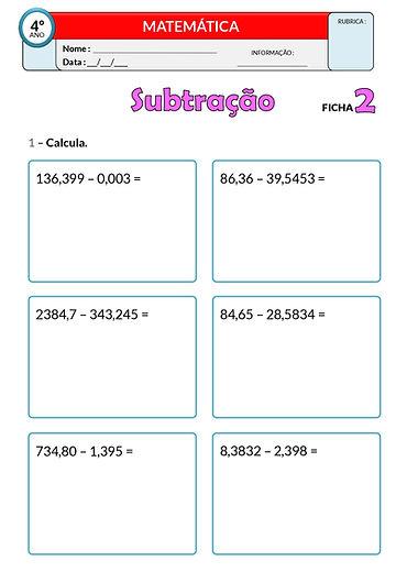 2 - Operações_subtração - números decima