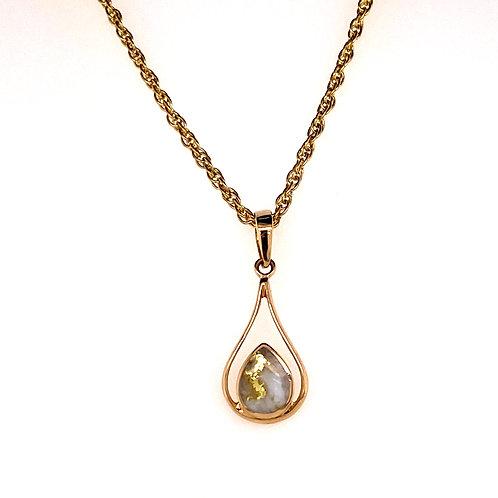 Gold Quartz Tear Drop Pendant
