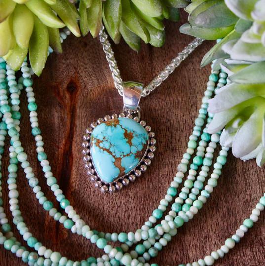 AY Royston Pendant, Moss Opal Beads