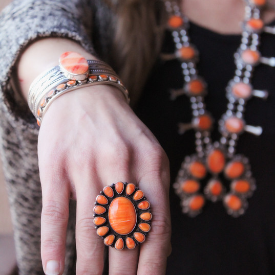 Orange Spiny Oyster Ring & Set