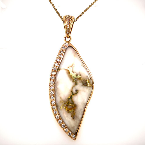 Gold Quartz Pendant with Diamonds