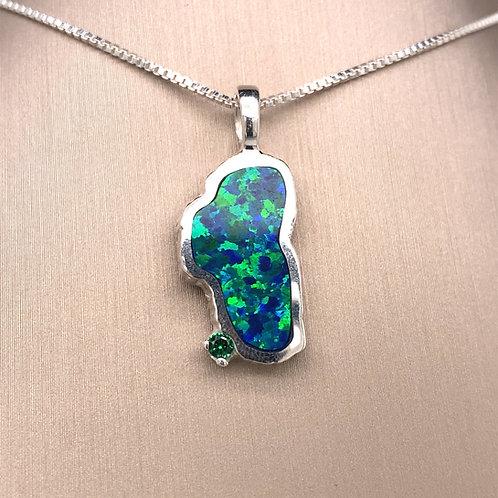 Large Opal Sterling Silver Lake Tahoe Pendant w/Emerald