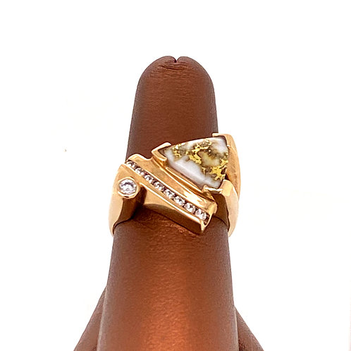 Gold Quartz Ring with Diamonds