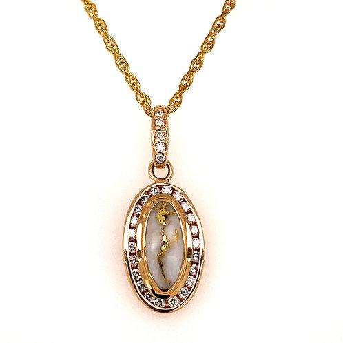 Gold Quartz Oval Pendant with Diamonds