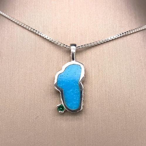 Medium Turquoise Sterling Silver Lake Tahoe Pendant w/Emerald