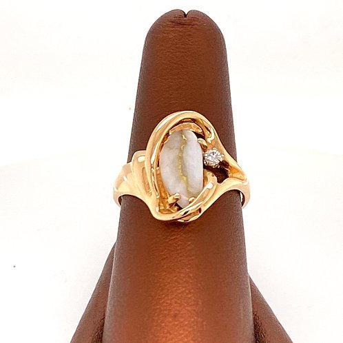 Gold Quartz Ring with Diamond