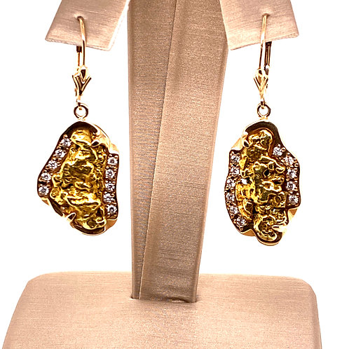 Gold Nugget Earrings with Diamonds