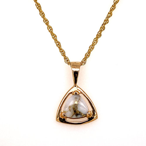 Gold Quartz Triangular Pendant
