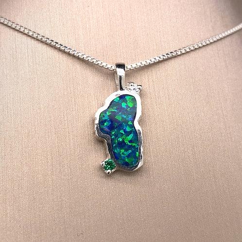Medium Opal Sterling Silver Lake Tahoe Pendant w/Emerald & CZ