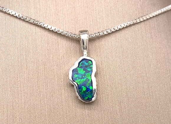 Small Opal Sterling Silver Lake Tahoe Pendant