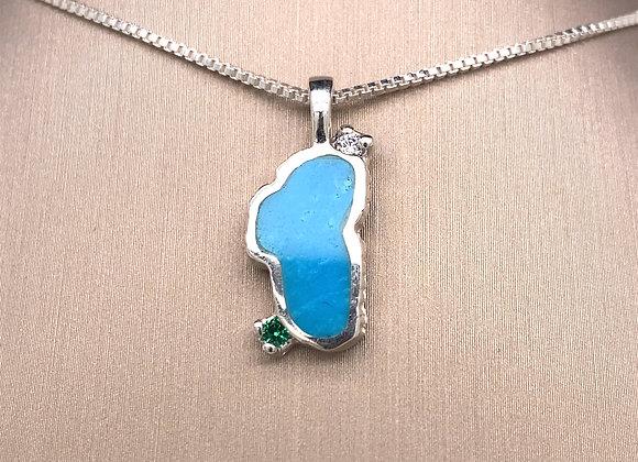 Medium Turquoise Sterling Silver Lake Tahoe Pendant w/Emerald & CZ