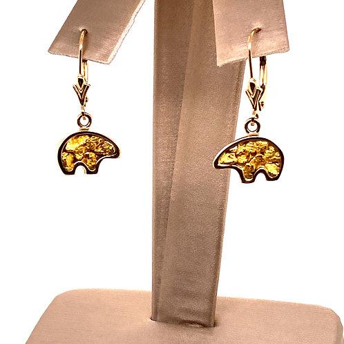 Gold Nugget Bear Earrings