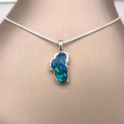 Medium Opal Sterling Silver Lake Tahoe Pendant