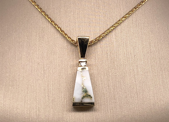 Gold Quartz Pendant with a Diamond