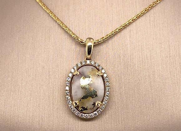 Gold Quartz Pendant with Diamonds