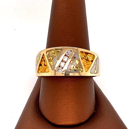 Gold Quartz Ring with Nugget & Diamonds