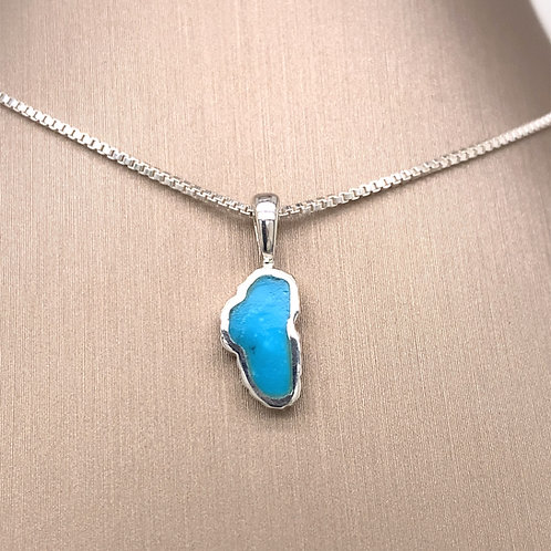 Small Turquoise Sterling Silver Lake Tahoe Pendant