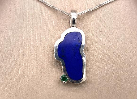 Large Lapis Sterling Silver Lake Tahoe Pendant w/Emerald
