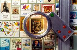 Magnifying glass showing a stamp