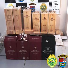 Policia Militar apreende 35 garrafas de vinho de origem estrangeira em Clevelândia