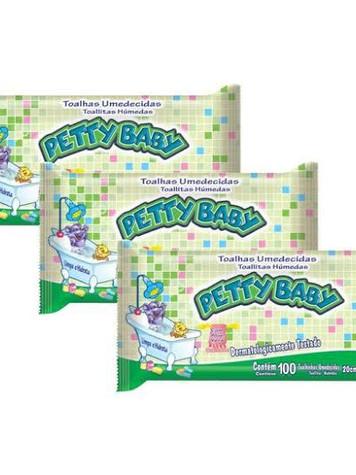 Lenço umidecido petty baby c/50 unidades:   R$ 4,50