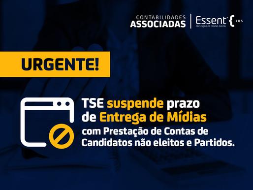 TSE suspende prazo de entrega de mídias com prestação de contas de candidatos não eleitos e partidos