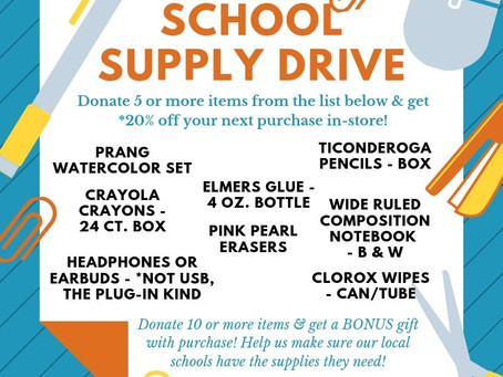 Donate & Save - School Supply Drive ends 9/10