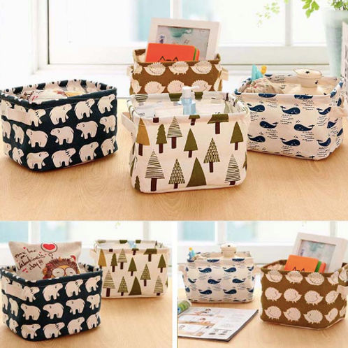 Cotton Linen Home Storage Box Office Organizer Desk Organization