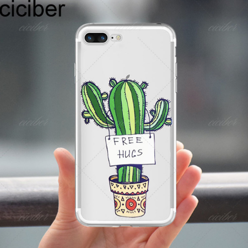 Free Hugs Feeling Prickly Fashion Cactus Soft Silicone Clear Back Cover