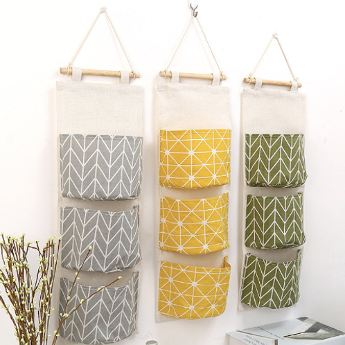 Cotton And Linen Waterproof Storage Hanging Bag Durable 3-layer Hanging Pockets