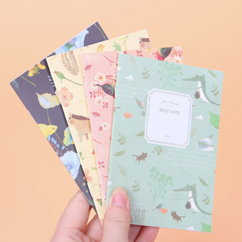 Set of 4 Cute Mini Vintage Flower Notebook Lovely Animal Notepads