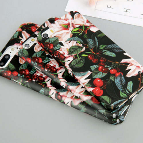 Classical Cherry Floral Phone Cases For iPhone 5 5S SE 7 7 6 6s Plus Flower Leav