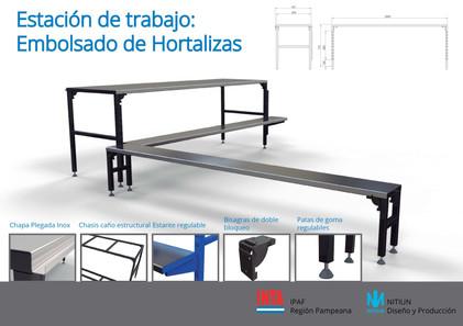 Estación de trabajo para embolsado de hortalizas desarrollado para INTA IPAF Región Pampeana.