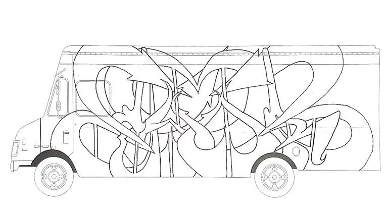 """""""Post Truck"""" Colouring Page"""
