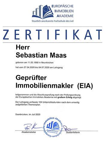 Zertifikat EIA Immobilienmakler