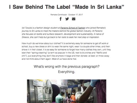 I Saw Behind The Label Made in Sri Lanka