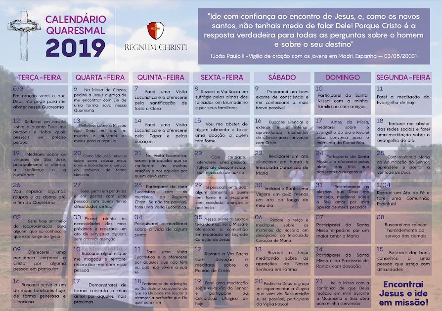 Calendário Quaresma 2019 RC