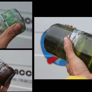 bricks with glass bottles