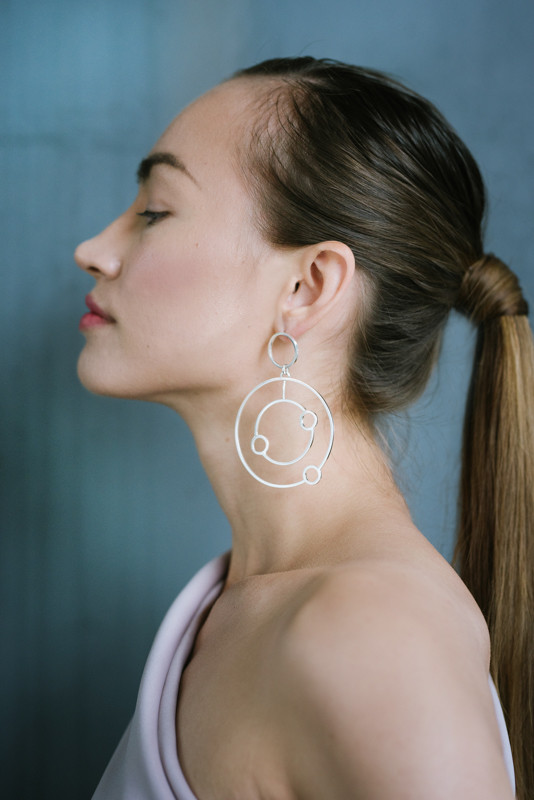Silver double orbit hoop earrings