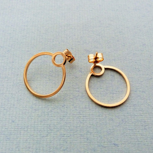 689d1e9d1 Simple, but striking mini version of the single orbit hoop earrings. Made  from square section Sterling silver wire with ear post and scroll back, ...